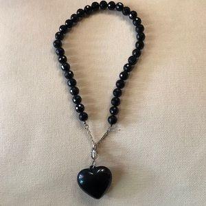 Black Bead Necklace w/ Heart Pendant